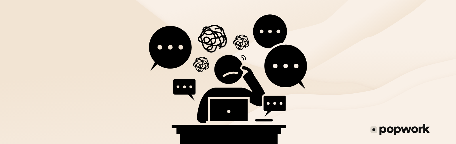A character disturbed and stressed by a lot of notifications - Popwork