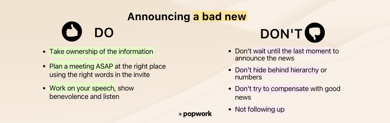 Synthesis of what to do and not to do while announcing a bad new - Popwork