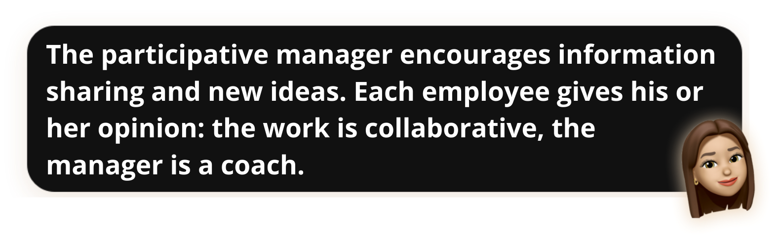 The participative manager encourages information sharing and new ideas. Each employee gives his or her opinion: the work is collaborative, the manager is a coach - Popwork