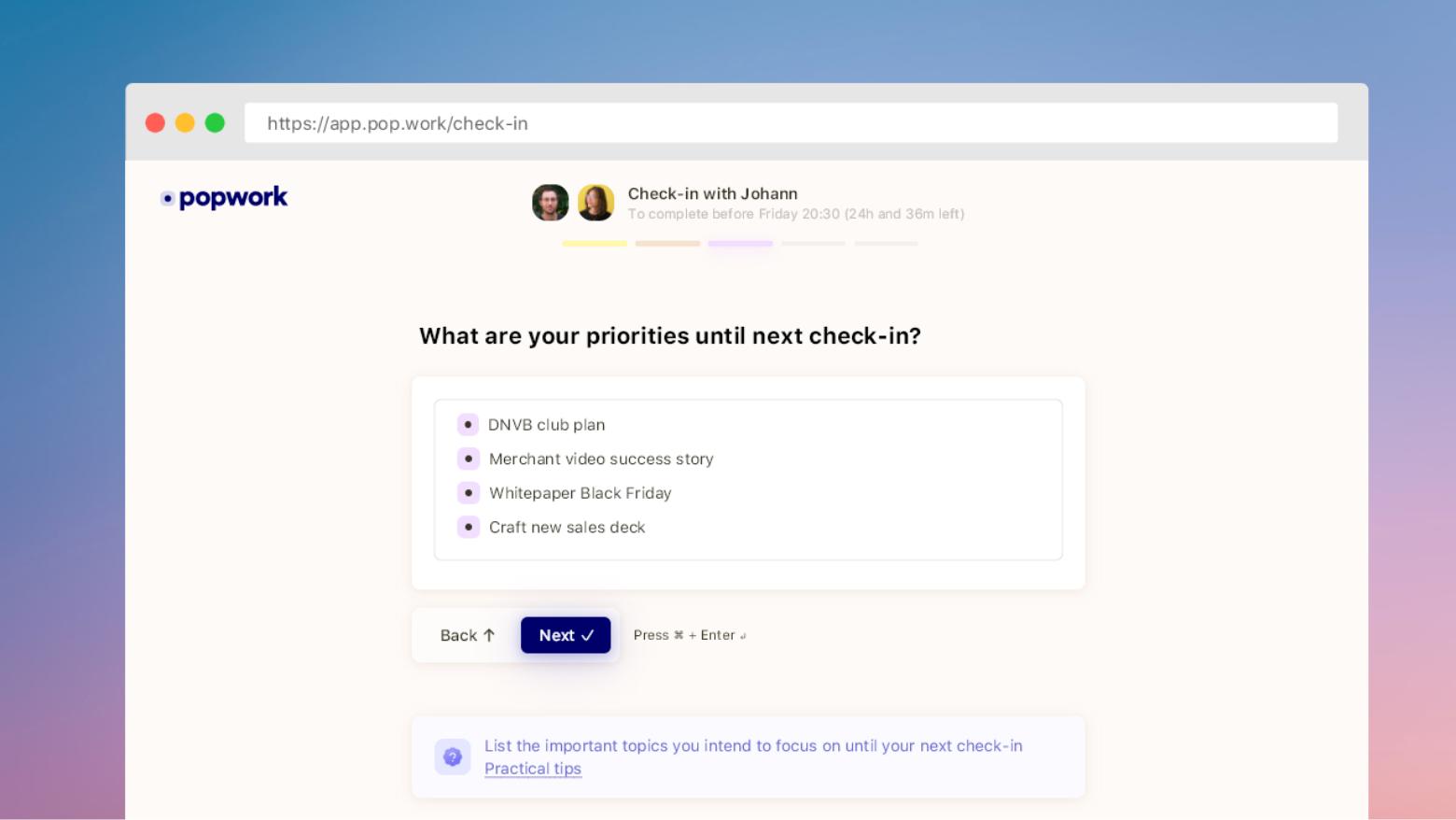 Screenshot of a Popwork check-in